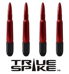 32 True Spike 7 Inch 9/16 Forged Steel Lug Nuts W/ Red 50 Cal Bullet Spikes