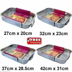 New Large Roasting Tray Oven Pan Dish Baking Roaster Tin Grill Stainless Steel