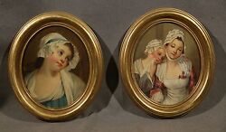 In Style Of Jean Baptiste Greuze French 1725-1805 Pair Oval Woman Portraits