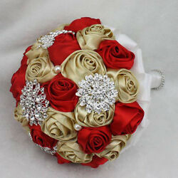 Red & gold silk roses flowers wedding bridal bouquets brooch BrideBridesmaid