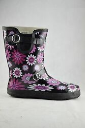Stormwells Black Pink Flowers Wellingtons Ladies Rain Boots Wellies Buckle