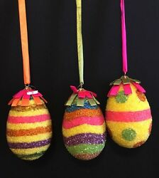 Katherineand039s Collection Retired Set Of 3 Large 6 Beaded Easter Egg Ornaments
