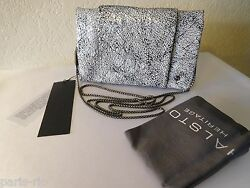 New Halston Heritage Black Print Clutch Wallet Crossbody Bag On A Chain!