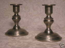 Pair Woodbury Pewter Candle Holders About 5 High