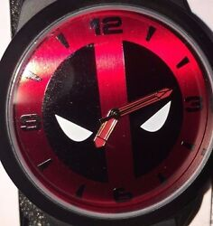 Marvel Comics Deadpool Watch Rubber Band Large Face Collectible Analog