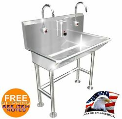 Hand Wash Sink 2 Station 36 Electronic Faucet Free Standing Made In America