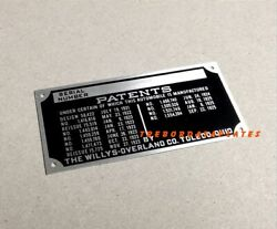 Willys-overland Co. Toledo Data Plate Serial Number Sedan Americar Coupe Tag