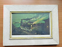 Railroad Picture Vintage United States Mutual Accident Association N.y. Framed
