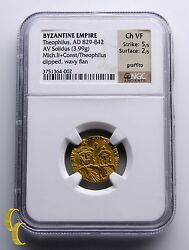 Ancient Byzantine Empire 829-842 Ad Theophilius Gold Solidus Coin Ngc Choice Vf