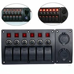 12v 6 Gang Red LED Indicators Rocker Circuit Breaker Switch Panel with Dual USB