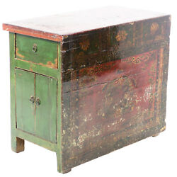 Unusual Antique Chinese 37 W X 31 T Cabinet W Fancy Painted Solid Front Panel