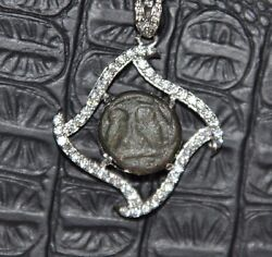 Helmeted Athena And Owl Authentic Ancient Coin 925 Sterling Silver Pendant And Chain