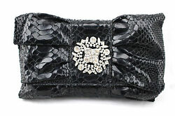IMAN Global Chic Faux Snake Rhinestone Dark Gray Pewter Clutch Shoulder Bag New $24.99