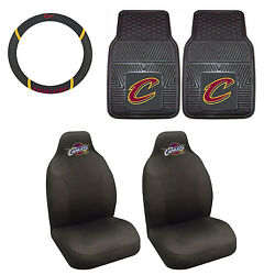 Cleveland Cavaliers Seat Covers Set With Rubber Floor Mats And Steering Cover 5pc