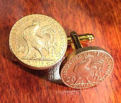 French Rooster 1910 France 20 Francs Gold Tone Souvenir Coin Cufflinks + Box