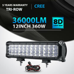 Tri-row 360w 12inch Led Light Bar Spot Flood Offroad For Jeep Truck Atv Ute 14