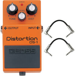 Boss DS-1 Distortion Guitar Effects Pedal Stompbox Footswitch + Patch Cables