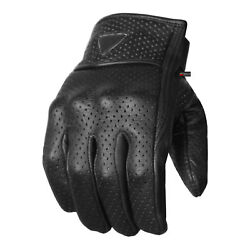 Premium Men#x27;s Motorcycle Leather Perforated Cruiser Protective Gel Padded Gloves $17.99