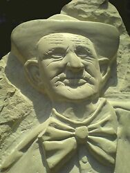 Bust Sculpture Carved On Stone, Named Retired