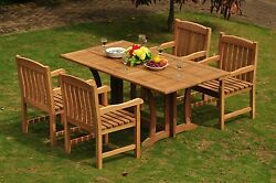 Dsdv Grade-a Teak Wood 5pc Dining 69 Rect Console Table 4 Arm Chair Set Patio
