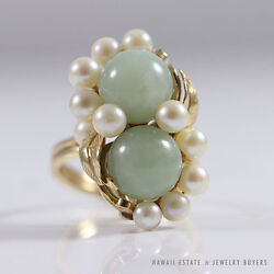 Ming's Hawaii Pale Green Twin Jade And Pearl Cluster 14k Yellow Gold Ring Sz 8