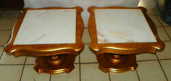 Pair Of Mid Century Gold Gilded Marble Top End Tables By Weiman Rp-t611
