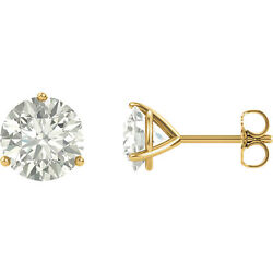 14k Solid Yellow Gold Forever One Moissanite Martini 3 Prong Stud Earrings