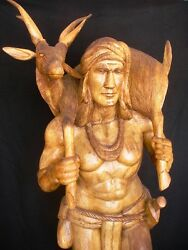 6.5 Ft. One Of A Kind - Hand Carved Philippine Warrior W Deer And Fox - Must Sell