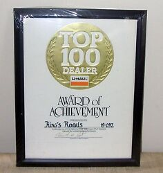 U Haul Top 100 Dealer Award Of Achievement For Being One Of The Top 100 Dealers