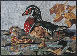 Cute Duck Red Feathers Garden Nature Design Marble Mosaic An1075
