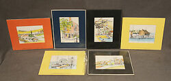 Set Of 6 Color Etchings Landscapes Signed Kerry Hallam British 1937