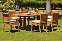 DSGV Grade-A Teak 7 pc Dining 69 Console Rectangle Table Chair Set Outdoor Patio