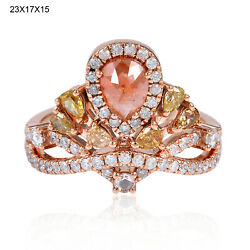 Memorial Day Natural Ice Diamond Solid 18k Rose Gold Crown Ring Designer Jewelry