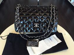 Chanel Classic Coco 2.55 Flap Patent Jumbo Handbag Purse Cross Body PickupLA