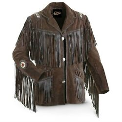 Menand039s Traditional Western Cowboy Leather Jacket Coat With Fringe Bones And Beads