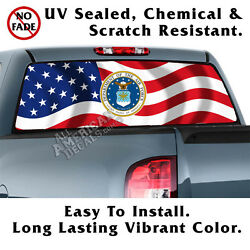 Wavy Us Flag And Air Force Back Window Graphic Perforated Film Decal Truck Decal