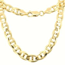 14k Solid Gold Italy Men Women Concave Mariner Chain Necklace 2.5-8mm