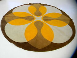 round XL MidCentury Modern op art abstract art Vintage Rug loft eames danish era
