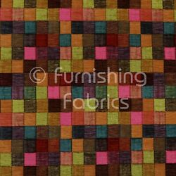 Heavyweight Pink Multi Coloured Patchwork Pattern Chenille Upholstery Fabric