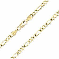 10k Solid Yellow Gold Figaro Necklace Chain 7.5mm 20-30 - Polish Link Men Women