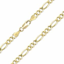 10k Solid Yellow Gold Figaro Necklace Chain 10mm 20-30 -polished Link Men Women