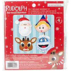 Dimensions Rudolph The Red-Nosed Reindeer Ornaments Felt Applique Kit-Set Of 4