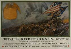 C. 1917 Put Fighting Blood In Your Business American Red Cross Dan Smith Poster