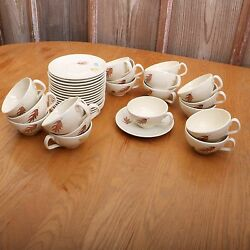 17 Vintage Franciscan Autumn Leaves Earthenware Saucers And 18 Cups