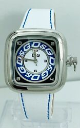 Dandg Cherokee White And Blue Stitching Leather Unisex Watch Dw0182