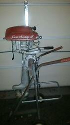 1953 Montgomery Ward Sea King 5hp Fishing Motor With Rolling Stand Very Rare