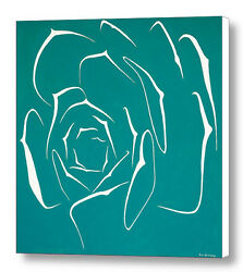 Succulent In Turquoise 30x30 Original Abstract Art Acrylic Painting Large Canvas