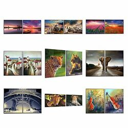Framed Animal Painting Picture Canvas Print Poster Wall Art Home Decor-2pcs