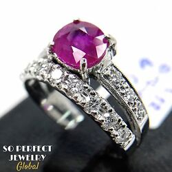 Burmese 1.71cw Ruby Diamond In 18k Solid White Gold Ring Natural Burma Heat Only