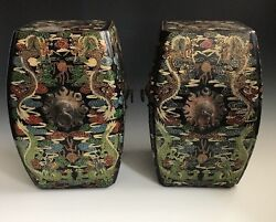 A Pair Of Antique Chinese Dragon Lacquered Garden Stools